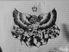 Eagle and roses.