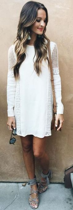 White shift + lace up sandals.