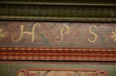 Vara: 3640404Klædeskab af bemalet træ, 1700-tallet