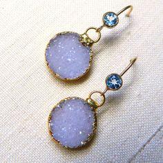 14K Gold Filled Bezel set Blue Topaz and Rare light Periwinkle Blue Drusy /Druzy Quartz Earrings