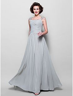 Lanting Bride® A-line Plus Size / Petite Mother of the Bride Dress Floor-length Sleeveless Chiffon / Lace withAppliques / Beading / – USD $ 400.00