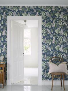 Chestnut Blossom by Boråstapeter - Blue - Wallpaper : Wallpaper Direct Brick Wallpaper, Room Wallpaper, Wallpaper Roll, Cottage Wallpaper, Kitchen Wallpaper, Wallpaper Samples, Living Room Flooring, Living Room Decor, Blue Wallpapers
