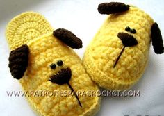 Puppy Slippers for Children / Step by step Crochet Barbie Knitting Patterns, Easy Crochet Patterns, Crochet Designs, Baby Patterns, Crochet Slipper Pattern, Crochet Shoes, Crochet Slippers, Knitting Stiches, Crochet Stitches