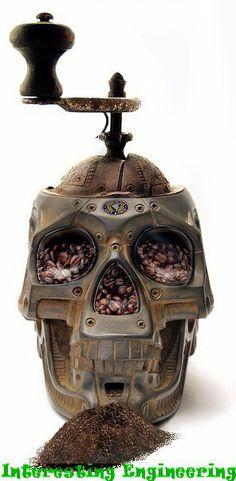 Skull steampunk coffee grinder