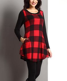 Look what I found on #zulily! Red Buffalo Check Scoop Neck Tunic #zulilyfinds
