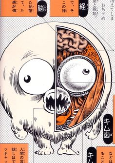 Kijimuna anatomical illustration from Yōkai Daizukai, an illustrated guide to yōkai authored by manga artist Shigeru Mizuki, features a collection of cutaway diagrams showing the anatomy of 85 traditional monsters from Japanese folklore