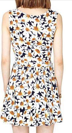 Morpheus Boutique  - White Floral Pattern Sleeveless Pleated Designer Dress