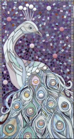 Giclee Print with Mount/Matt Limited Edition - White Peacock Mosaic