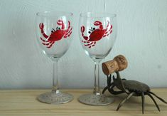 Red Crab Painted Wine Glasses  Set of 2 by KaiHinaCoastal on Etsy, $20.00