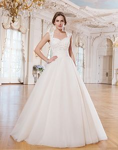 Style 6360: Tulle, venice lace ball gown embellished by a Queen Anne neckline | Lillian West