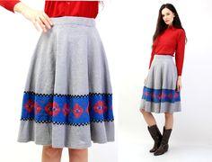 Vintage Knit Wool Winter Boho Rustic Flower Skirt Size M by Ramaci on Etsy