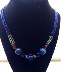 Gorgeous Lapis Lazuli Necklace on Etsy, $32.00