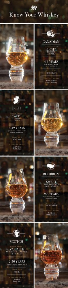 What makes bourbon different than scotch? Age and region influence each liquor's flavor profile, along with other factors. Here's a handy guide to help you better understand the different types of whiskies.