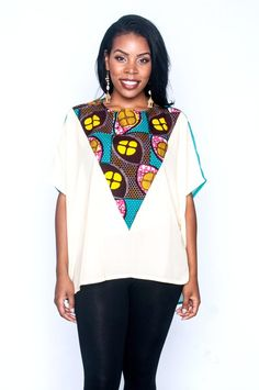 A charming combination of light chiffon and African prints, the Elorm top is gorgeous with a pair of jeans. Get beautiful African print fashion at Kuwala. African Inspired Fashion, African Print Fashion, African Prints, Africa Fashion, Fashion Pants, Fashion Outfits, Women's Fashion, African Wear Dresses, Ankara Tops
