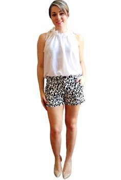 Womens Leopard Print Shorts / Black and White by kimberlynoland, $62.00