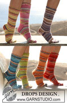 """DROPS 106-23 - Basis DROPS sokker i """"Fabel"""", hælen kan strikkes på 2 forskellige måder. - Free pattern by DROPS Design"""