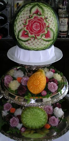 Layers of carved Fruit - Great Centerpiece