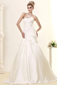 Luxurious A-line Floor-Length Cathedral Beading Lace 2015 Wedding Dress