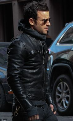 Theroux in pap-ready biker chic. Ridic style.