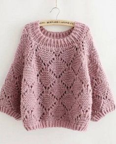Pullover knitting needles - Crochet Clothing and Accessories Diy Crochet Sweater, Crochet Diy, Sweater Knitting Patterns, Knit Patterns, Crochet Clothes, Baby Knitting, Knitting Needles, Baby Sweaters, Cable Knit Sweaters