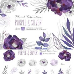 Free HD pull PNG creative watercolor painted purple flowers floral design image leaf LOGO--T523342140520 by artchina on Etsy