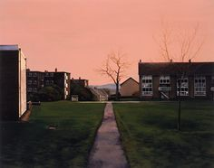 George Shaw/Courtesy Wilkinson Gallery, London Scenes from the Passion: Ten Shilling Wood, 2002 Urban Landscape, Landscape Art, Landscape Paintings, Landscape Design, Council Estate, A Level Art, Sense Of Place, Built Environment, Contemporary Paintings