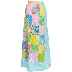 Preowned Vintage Lilly Pulitzer Patchwork Pastel Long Skirt ($375) ❤ liked on Polyvore featuring skirts, lilly pulitzer, grey, maxi skirt, long patchwork skirt, patchwork skirts, long grey skirt and lilly pulitzer skirts