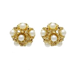 Vintage 14K Gold Cultured Pearl Clip Back Earrings,c . 1960s. $950