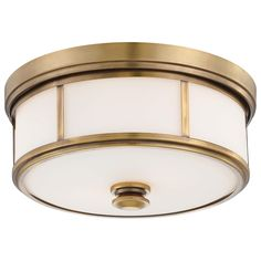Minka Lavery Harbour Point 2 Light Flush Mount Ceiling Light, Liberty Gold - outfitted with 2 Cree LEDs, it lights up the bathroom better than the fixture it replaced! Gold Ceiling Light, Ceiling Light Design, Glass Ceiling Lights, Flush Mount Ceiling, Ceiling Light Fixtures, Ceiling Lighting, Hallway Lighting, Ceiling Fans, Vanity Lighting