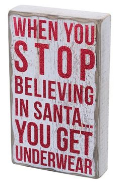Christmas Decor. When You Stop Believing' Box Sign | Nordstrom