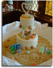 Beach theme wedding cake by Windy City Cakery