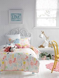 Cute girls room seen at Linenhouse.com.au KIDS BEDDING SINGLE QUILT COVER SETS FLOWER GARDEN MULTI