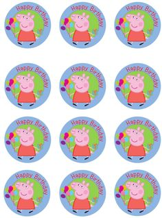 Peppa Pig Edible Image Cupcake Toppers by ShoreCakeSupply on Etsy