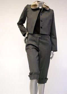 100% Wool, Women's Capri Pants Sale - Charcoal Grey, Cuffed