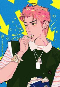 Exo Anime, Anime Chibi, Anime Art, Anime Guys, Simpsons Drawings, Character Art, Character Design, Exo Fan Art, Korean Art