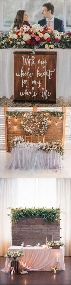 chic rustic wedding sweetheart table decoration ideas by jeannine