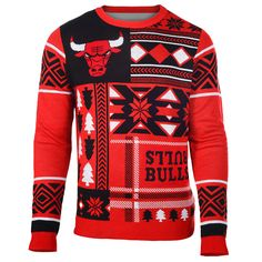 Chicago Bulls Patches NBA Ugly Crew Neck Sweater from UglyTeams