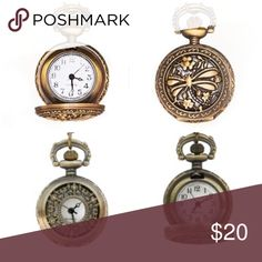 Pocket Watch Necklaces I have 2 coming available. One dragonfly face and one Victorian face. Each $20. Jewelry Necklaces