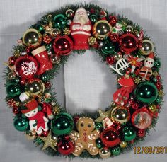 Traditional Christmas colors, so pretty for the holidays! I made this with vintage Christmas ornaments.