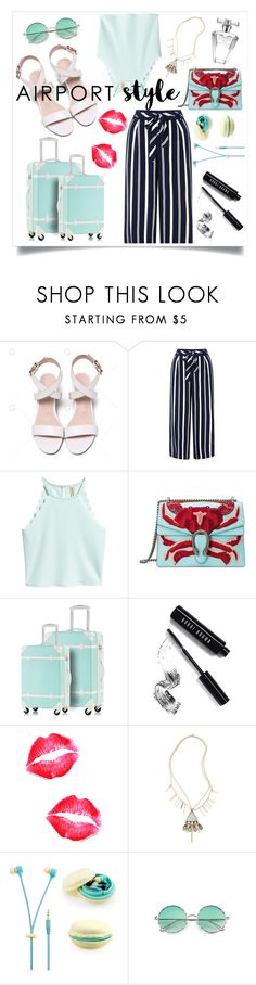 """Airport Style: Culottes for Summer"" by meli111 on Polyvore featuring Monsoon, Gucci, Bobbi Brown Cosmetics, Vanessa Mooney, Samsung and Avon"