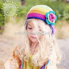New Fashion Kids Colourful Crochet Hats And Earflap Hat Chritmas Girl Hats