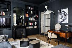 Emile Augier   Caroline Andréoni French Apartment, White Apartment, Parisian Apartment, Apartment Design, Family Apartment, Studio Lamp, Deco Studio, Deco Cool, Look Dark