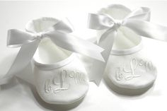 Baby Baptism Shoes  Monogrammed White Booties  by KayLaneSisters, $22.95