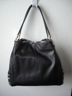 Coach 28604 Madison Black Python Small Phoebe Shoulder Bag NEW #Coach #ShoulderBag