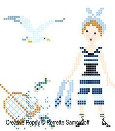0 point de croix femme ancien maillot de bain - cross stitch girl in antique swimsuit