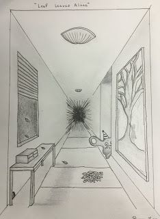 Project Art A Day Lesson Linear Perspective Monster Rooms Perspective Art Perspective Drawing Architecture One Point Perspective Room