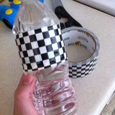 Use Decorative Duct Tape to spruce up bottled water. You can even leave the bottles in a tub/cooler of ice, and the tape stays on!                                                                                                                                                      More