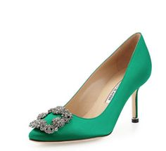 Manolo Blahnik Hangisi Crystal-Buckle Satin 70mm Pump $965.00