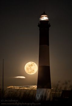 Super Moon Rises from the Atlantic behind the Fire Island Lighthouse ~ Long Island, New York