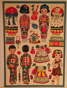 Large Sheet of 1950's Vintage Japanese Paper Dolls Three Girls | eBay